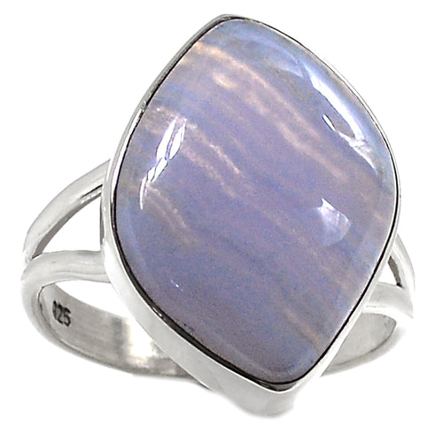 Blue Lace Agate Ring sterling silver in size 9.5
