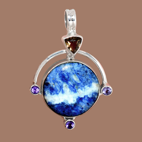 Sodalite pendant with Smoky Topaz and Amethyst