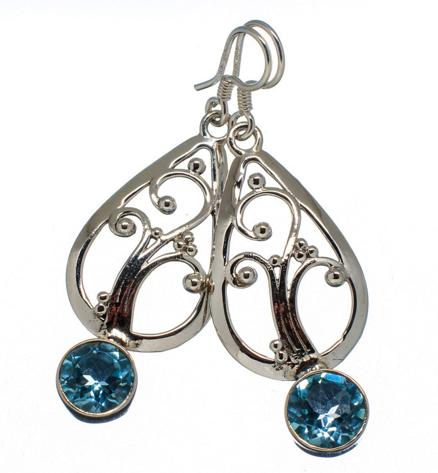 Blue Topaz Tree of Life Sterling Silver Celtic Earrings