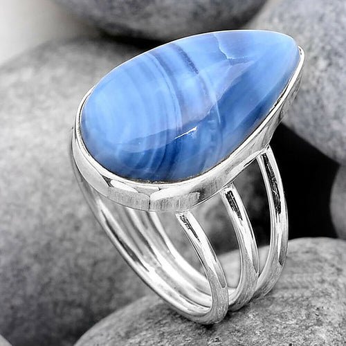 Blue Owyhee Opal Ring triple band sterling silver ring size 7