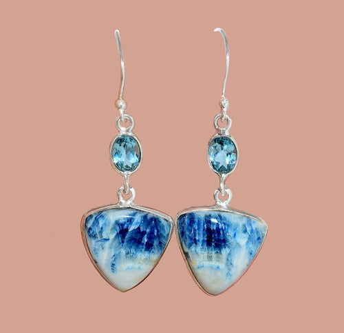 Blue Scheelite Earrings with Blue Topaz