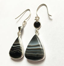 Load image into Gallery viewer, Black Botswana Agate Earrings with Black Onyx