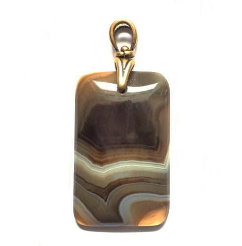 Botswana Agate Pendant with Reproduction Art Deco Brass Torch Bail