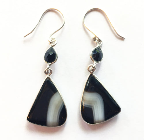Black Botswana Agate Earrings with Faceted Black Onyx