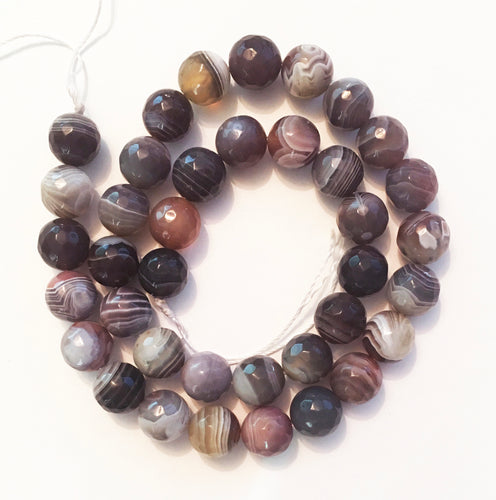 Botswana Agate beads faceted 10mm round beads - 15 inch strand