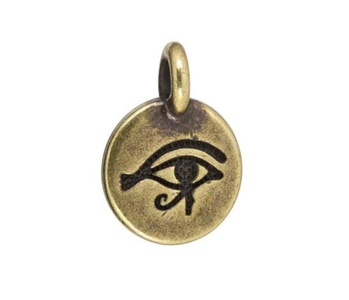 Antique Brass Plated Pewter Eye of Horus Charm by TierraCast