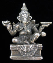 Load image into Gallery viewer, Ganesh Seated with Four Arms Silver Plated Brass Little Figurine