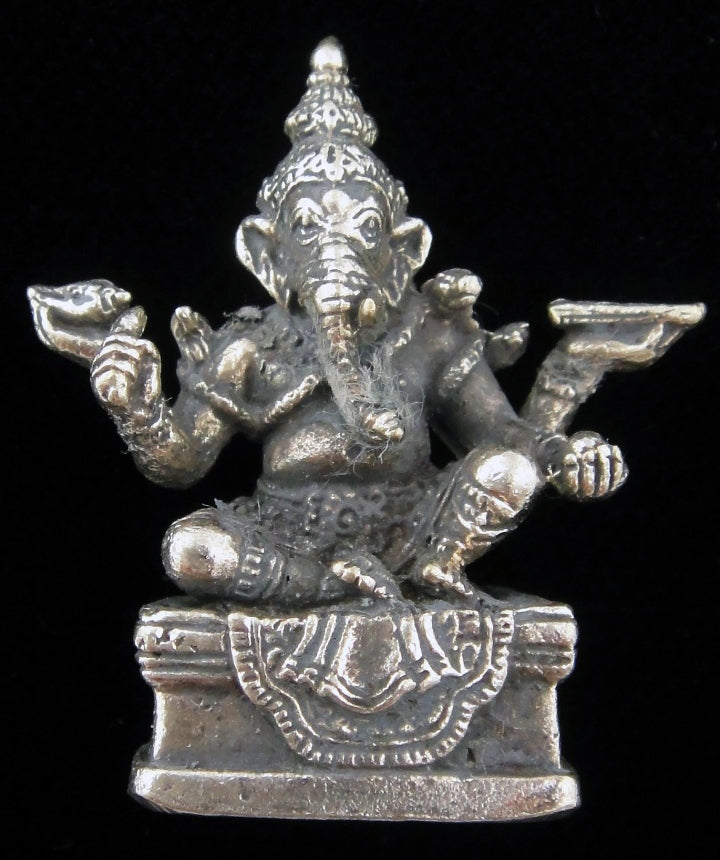 Ganesh Seated with Four Arms Silver Plated Brass Little Figurine