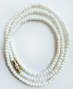 Water Buffalo Bone 3mm Bead Mala-Style Necklace in 18 inch length