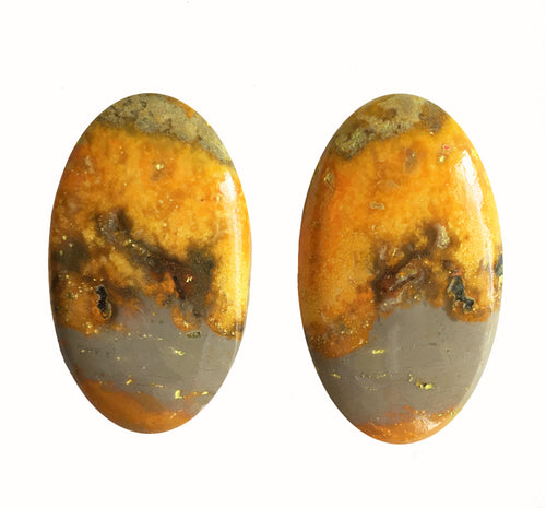 Bumblebee Jasper Cabochons matched pair of ovals
