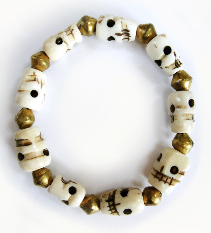Yak Bone Skull Beads Mala Bracelet with Round Brass Beads