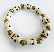 Load image into Gallery viewer, Yak Bone Skull Beads Mala Bracelet with Round Brass Beads