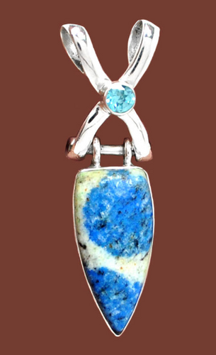 K2 Pendant Azurite in Granite with Blue Topaz in Sterling Silver criss-cross setting