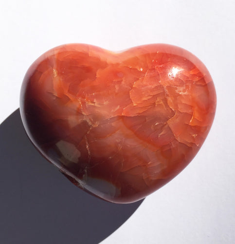 Carnelian puffy heart for courage, self-esteem and passion!  2.62 inches wide,