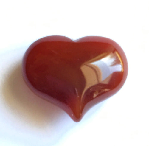 Carnelian Puffy Heart for happiness.  Extra small 25mm wide.