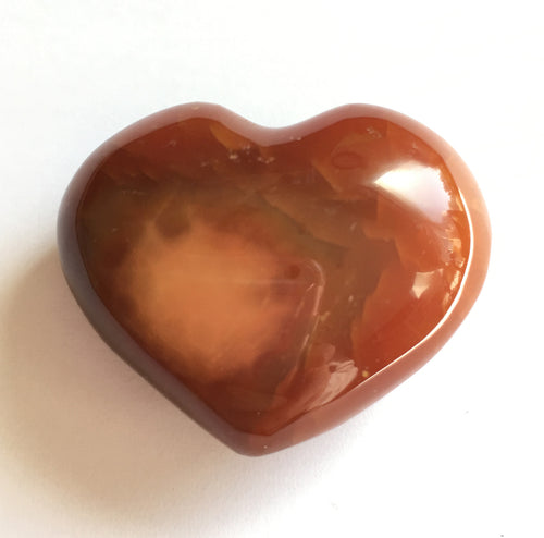 Carnelian Puffy Heart 35mm wide pocket sized