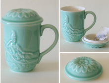 Load image into Gallery viewer, Celadon Green Glazed Porcelain Reclining Quan Yin Mug with Lotus Lid