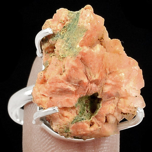 Chabazite Orange Crystal Ring Size 8