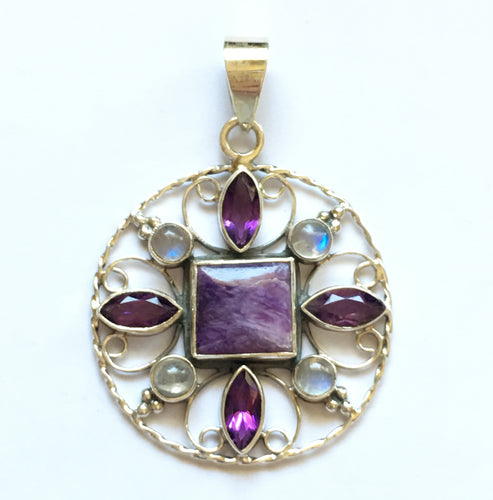 Charoite, Amethyst and Rainbow Moonstone Sterling Silver Medallion Pendant