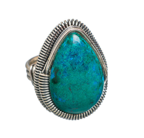 Chrysocolla Ring Industrial design sterling silver size 7-3/4