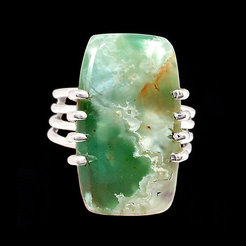 Chrysoprase Ring Oblong Cabochon in Sterling Silver 4-Band Size 6 Ring