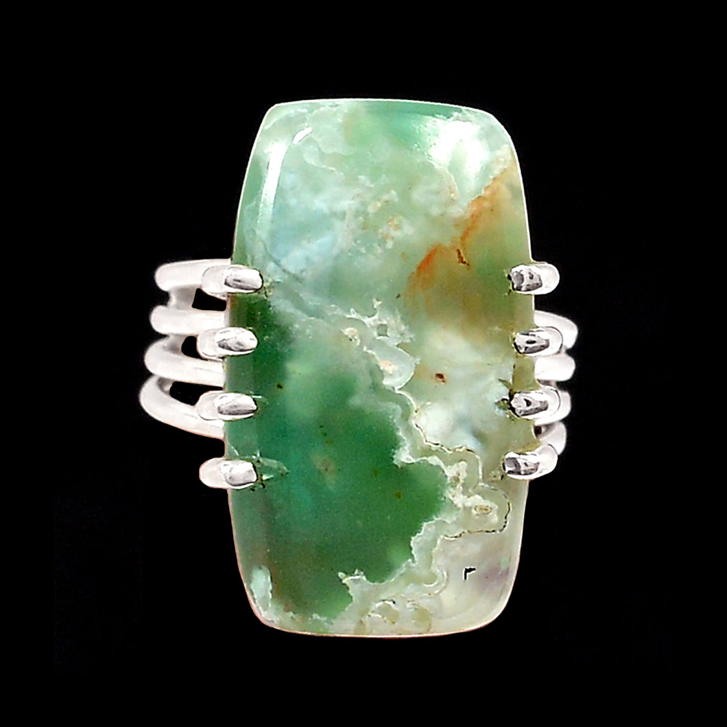 Chrysoprase Ring Sterling Silver 4-Band Size 6 Ring