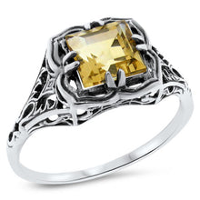 Load image into Gallery viewer, Citrine Ring size 6.75 sterling silver filigree Victorian reproduction