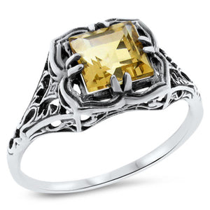 Citrine Ring size 6.75 sterling silver filigree Victorian reproduction