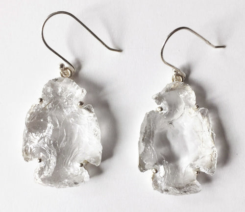 Thunderbird Earrings of Clear Quartz Crystal