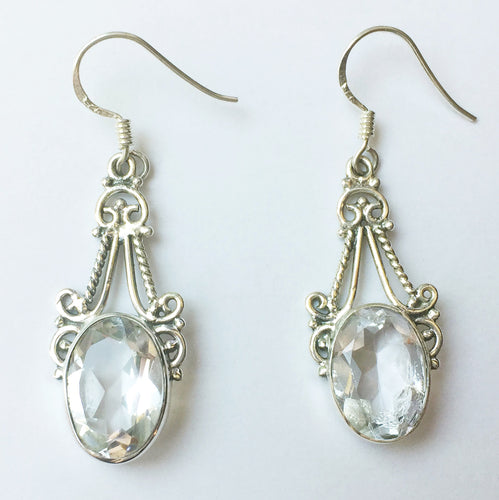 Clear Quartz Earrings Faceted Ovals in Sterling Silver Filigree