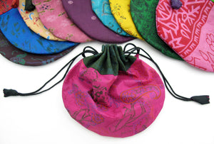 Silk Sari Drawstring Pouch Bag in small size