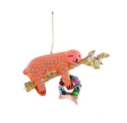 Orange Sloth Ornament with Wreath