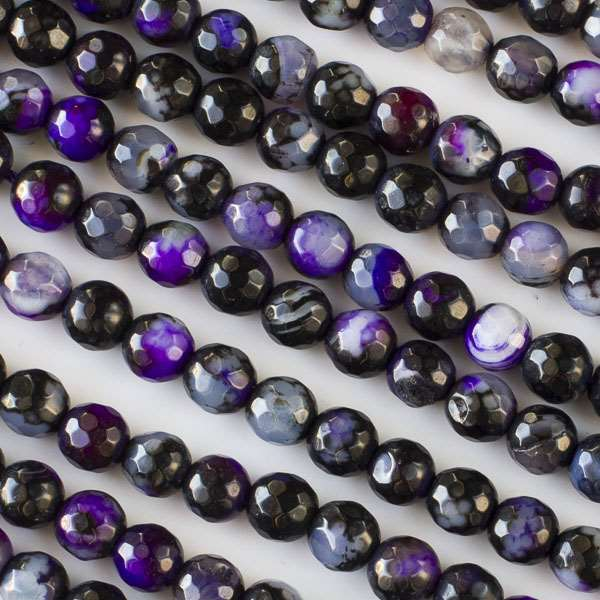 Cracked Agate Beads 6mm Faceted Rounds in a Violet Purple and Black Mix