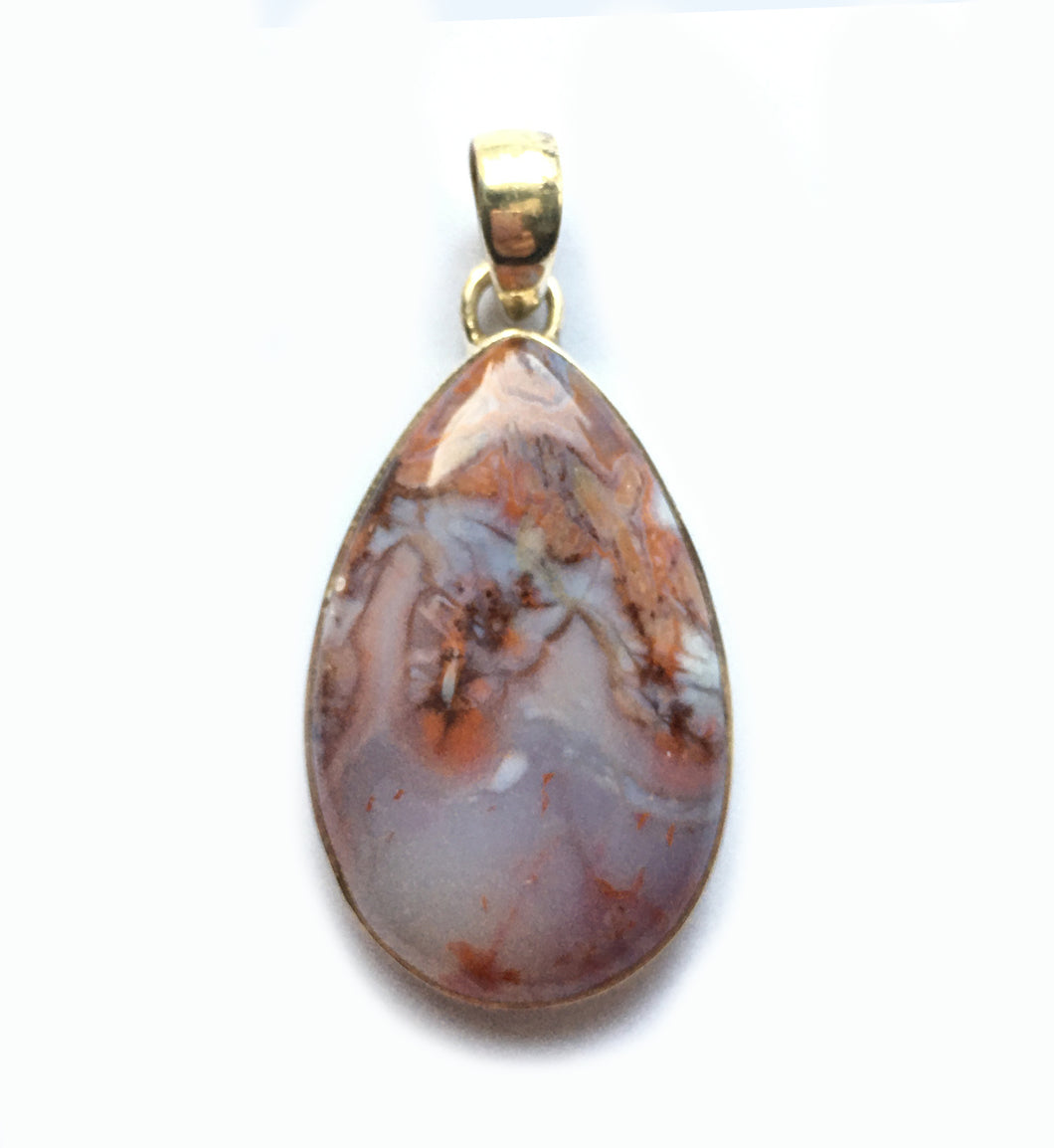 Crazy Lace Agate Pendant in Pear Shape