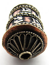Load image into Gallery viewer, Opening Tibetan Brass and Copper Prayer Wheel Bead Inscribed: Om Mani Padme Hum - The jewel in the heart of the lotus.