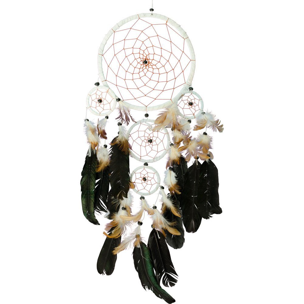 Dreamcatcher in White Suede with Beads and Feathers