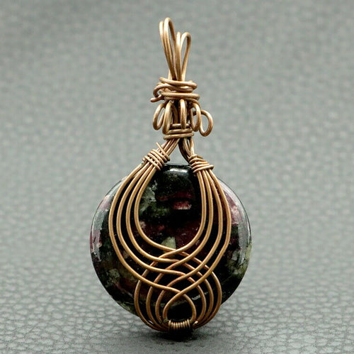Eudialyte Pendant in Copper Wire Wrap