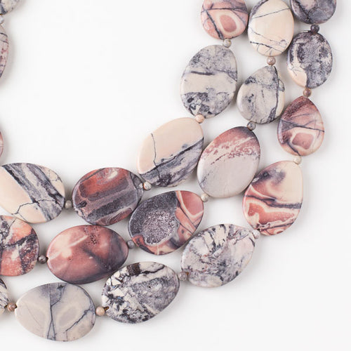 Exotica Porcelain Jasper Beads - strand of 20x30mm and 30x40mm free-form, graduated slab beads alternating with 4mm round beads