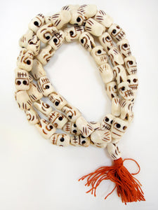 Fancy Water Buffalo Bone Skull 30 Inch Mala Style Beads - Embrace the power of Kali