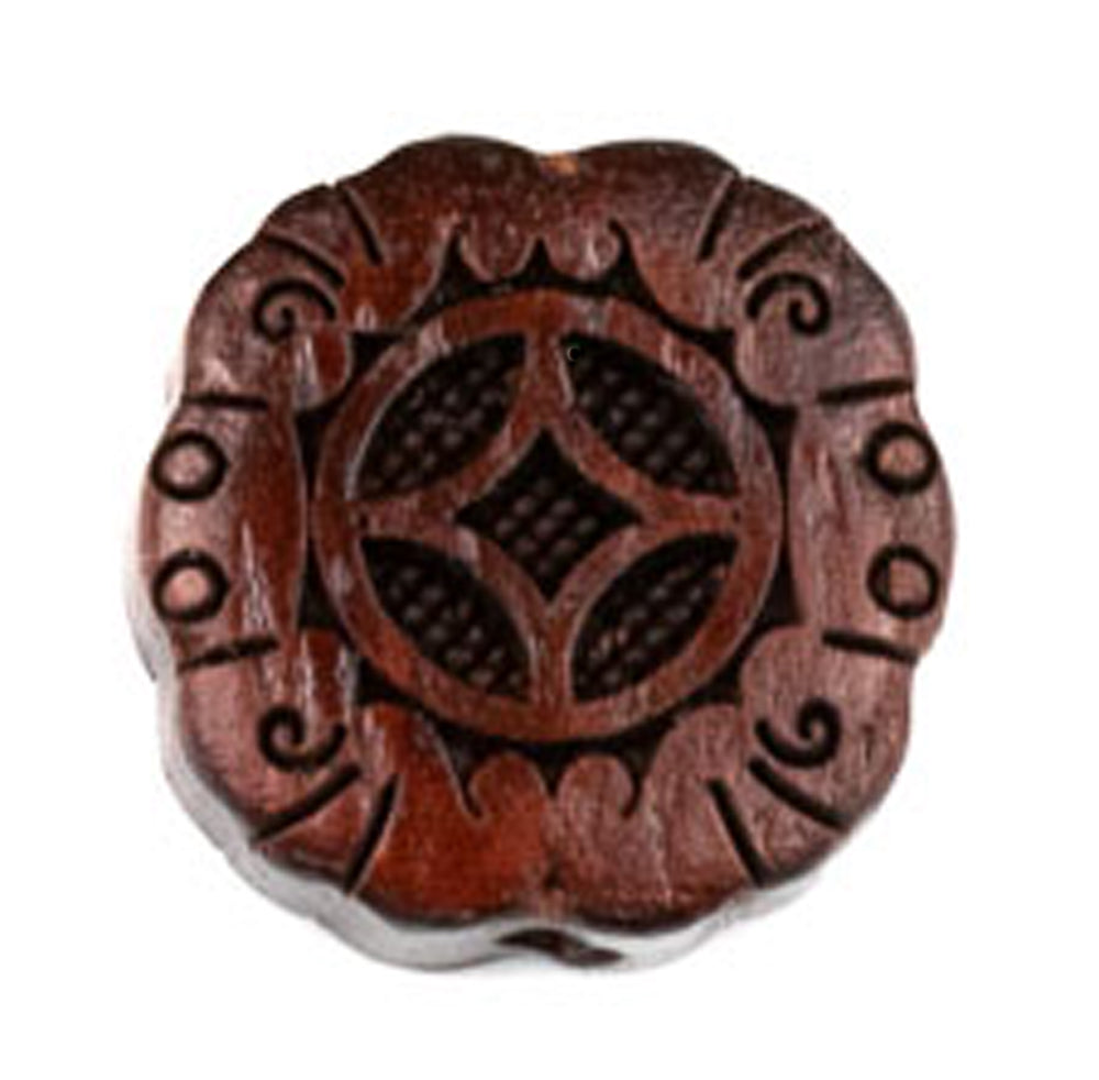 Flower Wheel Sandalwood Ojime Bead in Small Size
