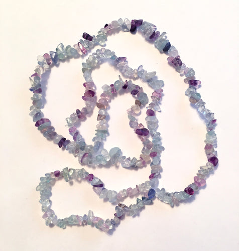 Fluorite Natural Gemstone Chip Necklace
