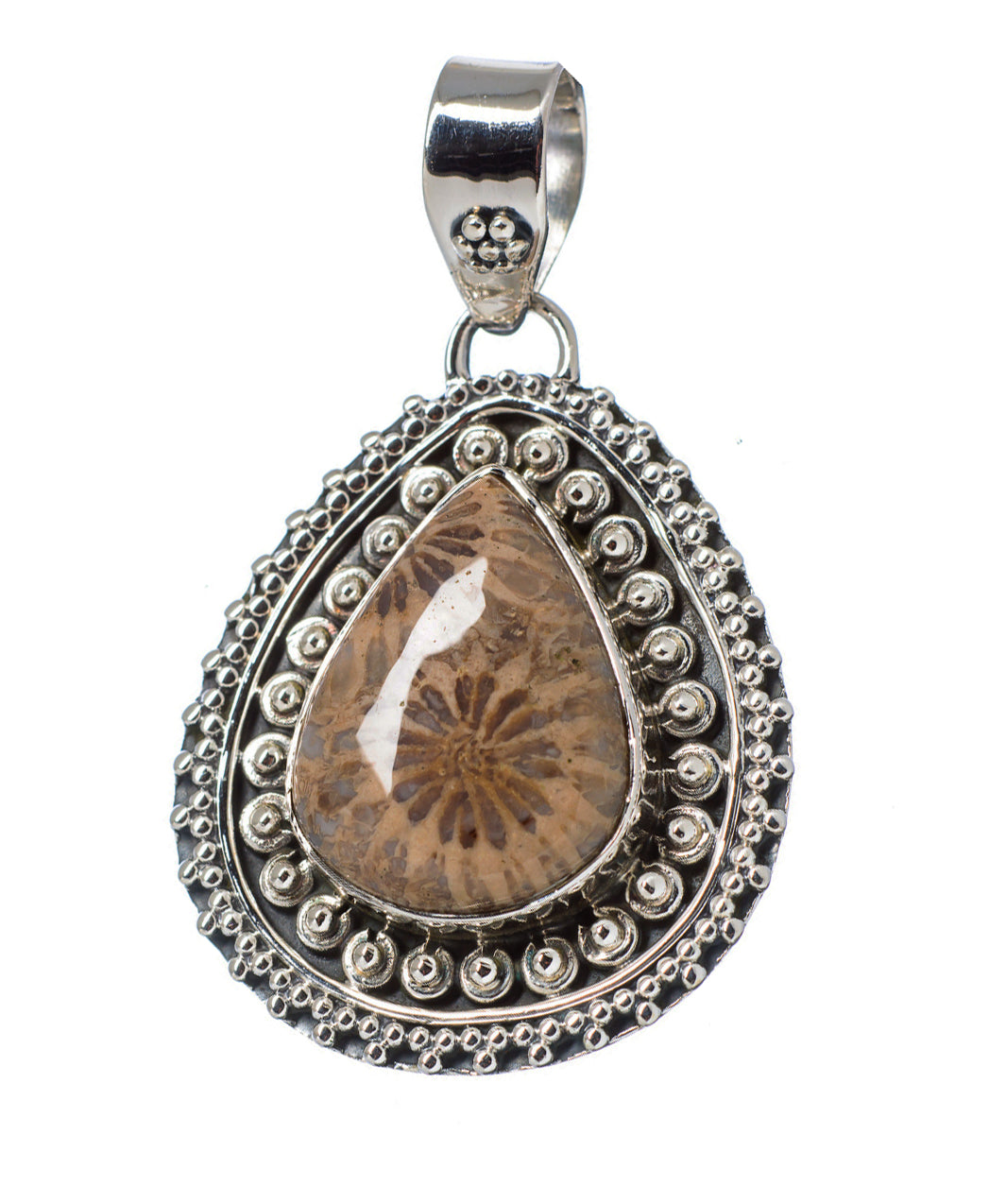 Fossilized Coral pendant for wise financial planning