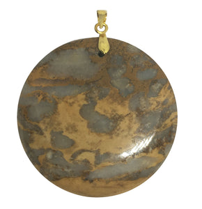 Fossilized Coral Jasper Pendant in round shape.