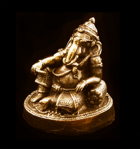 "Ganesh Brass Statue 1-3/4"" high"