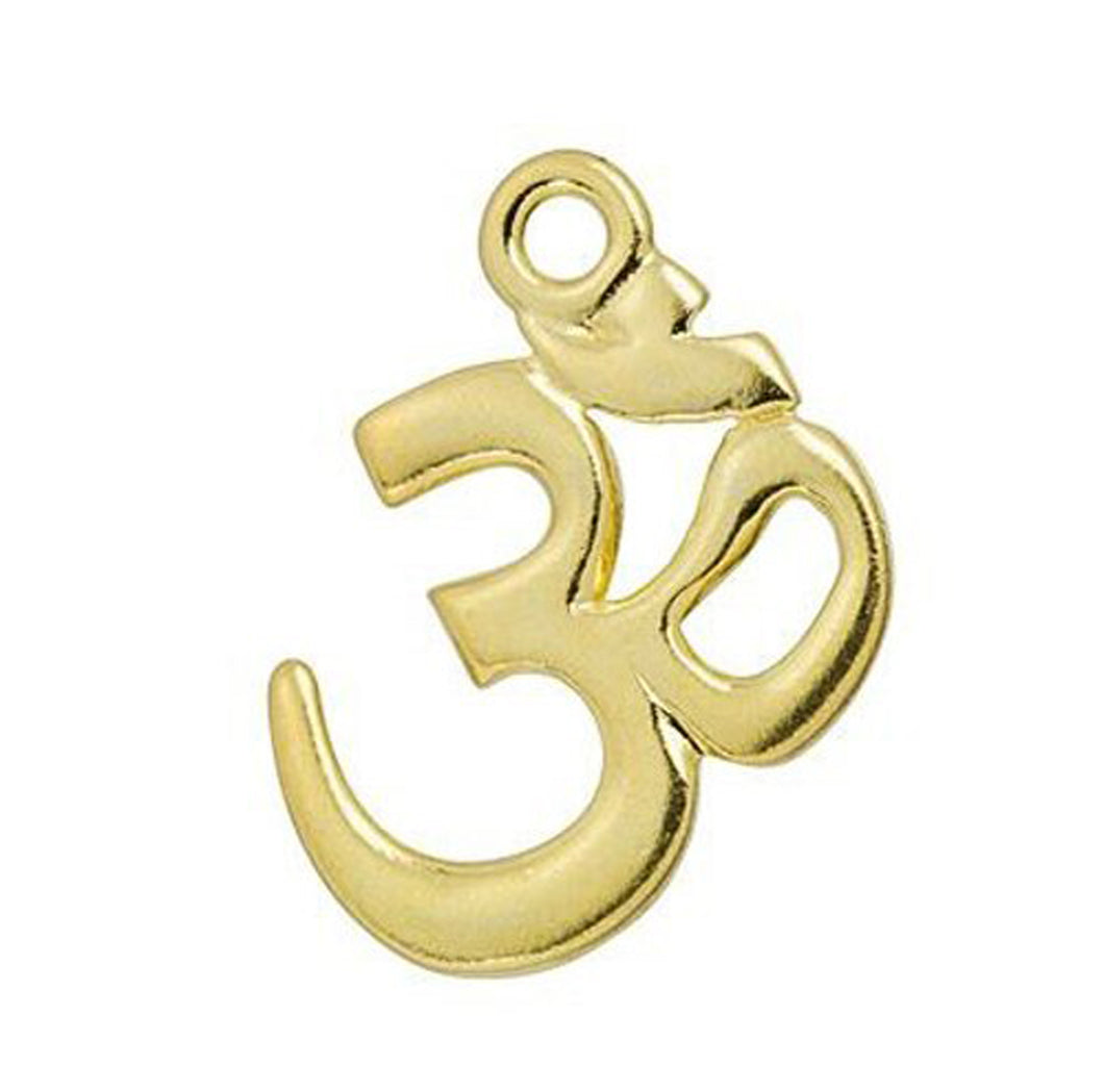 Om Pendant Gold Plated Pewter OM Symbol Charm