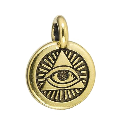 Eye of Providence Charm gold plated Pewter by TierraCast
