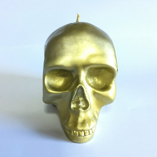 Gold Skull Candle in Gold
