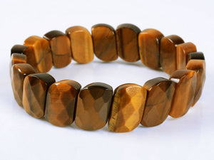 Golden Tiger's Eye Bracelet Faceted Oval Bead Bracelet for Success with Integrity