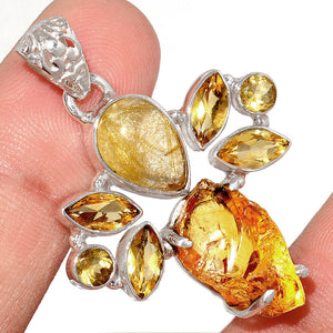 Golden Rutilated Quartz, Citrine and Raw Amber Pendant