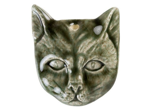 Cat Face Ceramic Bead in Eucalyptus Green Glaze